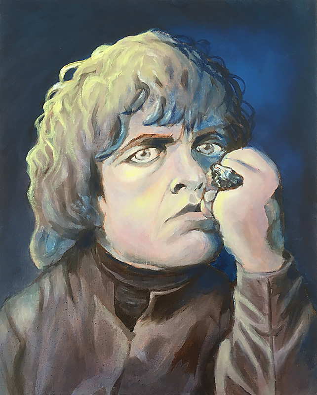 Oil painting of Peter Dinklage as Tyrion Lannister aka The Imp, Halfman, The Little Lion, Demon Monkey, The Bloody Hand