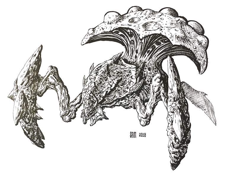 Pen and Ink drawing of a Zerg Swarmhost. Starcraft Fanart
