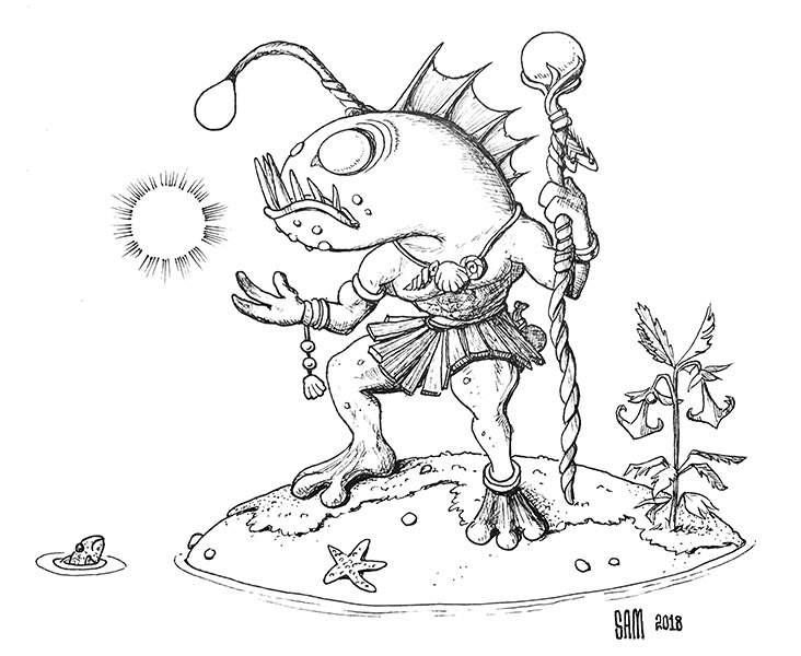 Pen and Ink drawing of a Warcraft Murloc
